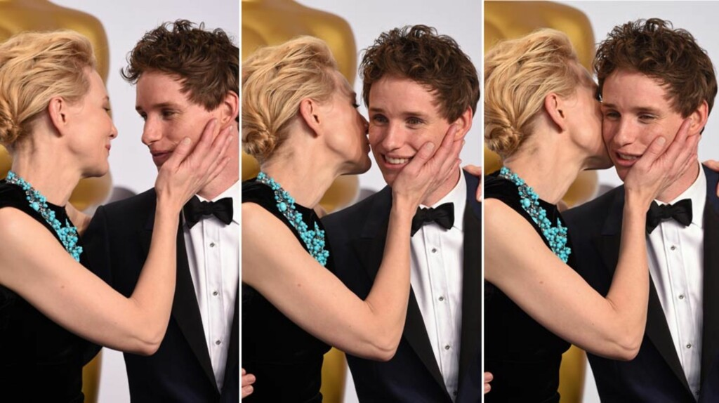 TOK STORESLEM: Eddie Redmayne har vunnet både en Golden Globe, en BAFTA og nå en Oscar for portretteringen sin av Stephen Hawking i «The Theory of Everything». Etter prisutdelingen fikk han en varm klem av prisutdeler Cate Blanchett.  Foto: All Over Press