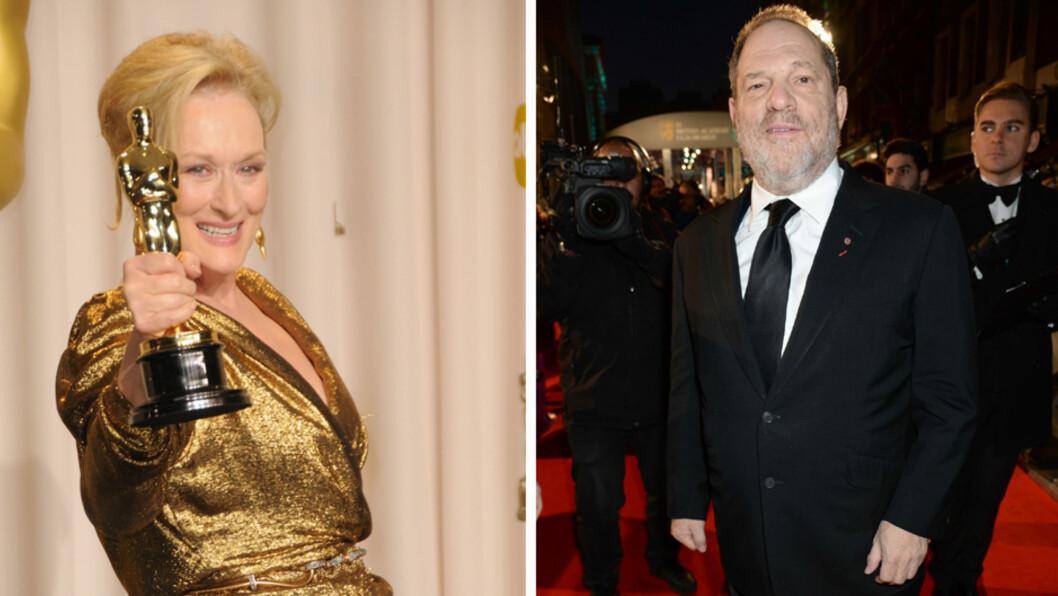 <strong>TAKKET GUD OG HARVEY WEINSTEIN:</strong> Meryl Streep er en av de som har et nært forhold til den mektige filmprodusenten Harvey Weinstein. Foto: All Over Press