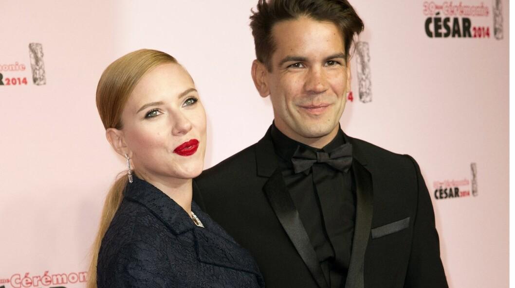 NYBAKTE FORELDRE: Scarlett Johansson og Romain Dauriac ble sammen i november 2012, forlovet seg i september 2013, og giftet seg i oktober 2014. Foto: PDN/VILLARD/SIPA/All Over Press