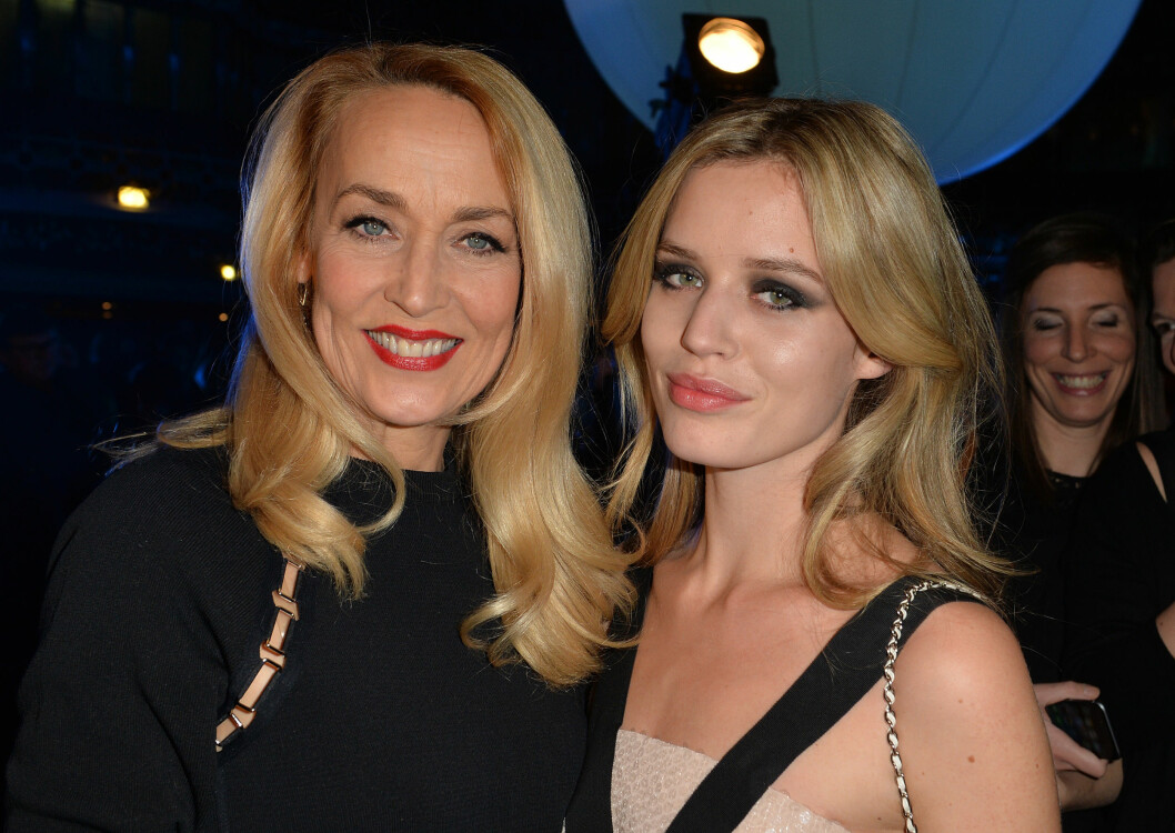 Jerry Hall and her daughter Georgia May Jagger at the cocktail during the presentation of the new star of the galaxy Angel of Thierry Mugler with his new muse Georgia May Jagger at the coupole of the french store Printemps Haussmann in Paris, on January 30, 2015.  COPYRIGHT STELLA PICTURES Foto: Stella Pictures