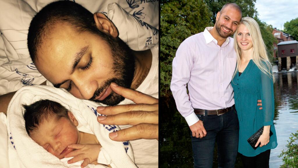 LYKKE: Marco Elsafadi med sin nyfødte sønn - som kom til verden i går. Han skal hete Noah. Foto: Privat / Andreas Fadum, Se og Hør