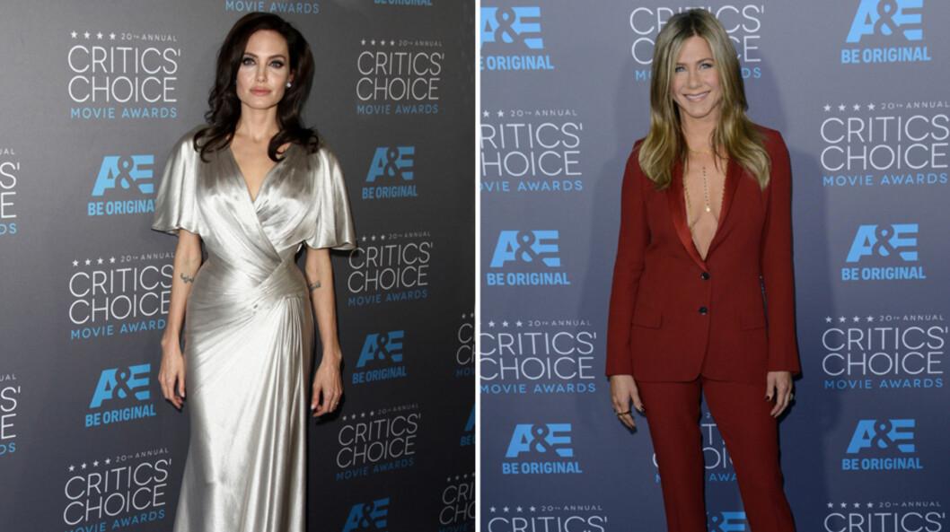 <strong>FIKK OPPMERKSOMHET:</strong> Superstjernene Angelina Jolie og Jennifer Aniston, som har Brad Pitt som romantisk fellesnevner, viste seg på samme røde løper for første gang siden 2009 torsdag kveld. Foto: Stella Pictures