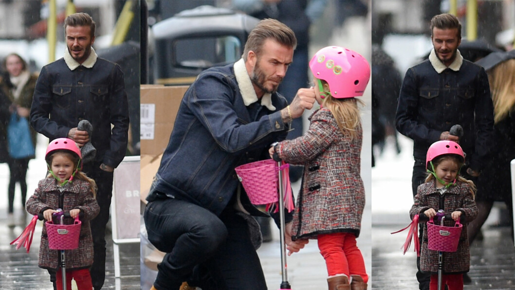 UT PÅ TUR: Harper Seven testet ut sin rosa sparkesykkel i Notting Hills gater denne uken - med pappa David Beckham hakk i hæl.  Foto: Stella Pictures