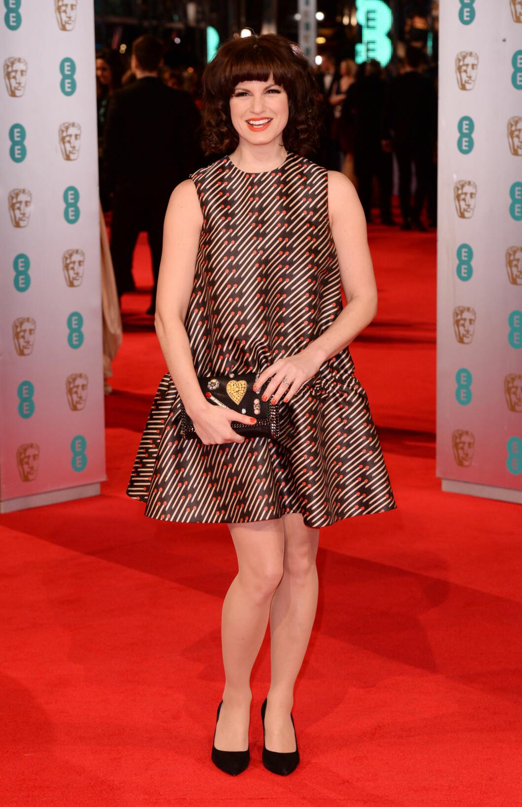 <strong>FOR SID:</strong> Skuespiller Jemima Rooper var iført en kjole fra Stella McCartney på BAFTA Awards i februar. «Mammakjole»-snittet var ikke helt heldig for den slanke stjernen, som fikk terningkast én for antrekksvalget sitt.  Foto: REX/All Over Press