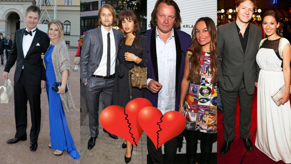 KJENDISBRUDD: Elin Tvedt, Maria Mena, Jan Eggum og Kaja Huuse og Mads Ousdal og Pia Tjelta, har alle opplevd kjærlighetsbrudd det siste året.