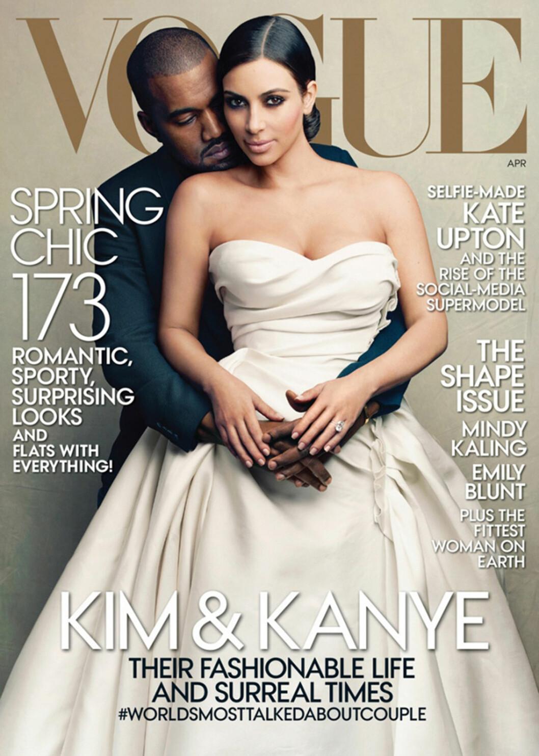 FIKK RIS: Flere mente at Kanye og Kims VOGUE-forside våren 2014 var upassende, men redaktør Anna Wintour gikk ut og forsvarte den uvanlige forsiden. Foto: Stella Pictures