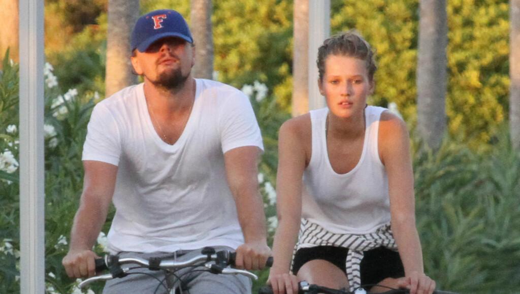 FRA LYKKELIGE TIDER: Her koste Leonardo DiCaprio og Toni Garrn seg på en sykkeltur på Mallorca i fjor sommer.  Foto: FameFlynet Sweden