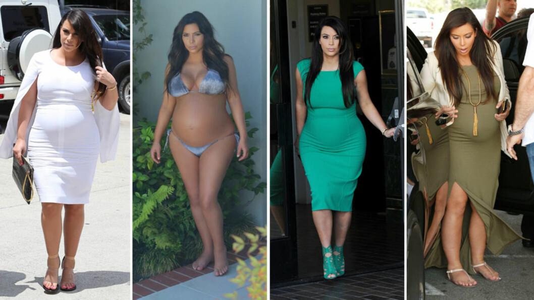 STRAFF FRA GUD: I et ferskt intervju med britiske ELLE forteller Kim Kardashian at hun tenkte at vektøkningen og alle plagene hun slet med under svangerskapet, var en slags straff fra Gud. Hun gikk opp omlag 25 kilo og måtte etter hvert sverge til flate sko grunnet svært hovne ben. Foto: Stella Pictures/ All Over Press