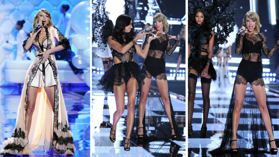 SEXY: Taylor Swift var oppsiktsvekkende sexy på Victoria's Secret-catwalken på Earls Court Exhibition Centre i London tirsdag kveld. Hun poserte og dramatiserte uanstrengt med supermodell Adriana Lima (midten). Foto: Stella Pictures