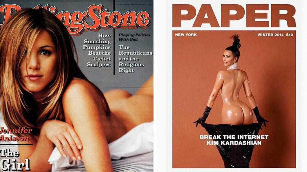 ORIGINALEN: En hel verden sperret opp øynene da de så denne forsiden av Rolling Stone med Jennifer Aniston som covergirl - 18 år før Kim Kardashian blottet seg på forsiden av Paper. Foto: Faksimile Rolling Stone/Paper Mag