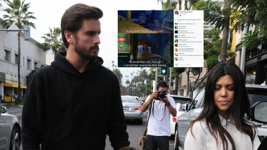 SLUTT FOR GODT?: I helgen postet Kourtney Kardashian et kryptisk innlegg på Instagram (innfelt), som kan tyde på at samboeren Scott Disick har gått fra henne. Her er paret avbildet i L.A. torsdag. Foto: Stella Pictures/Instagram