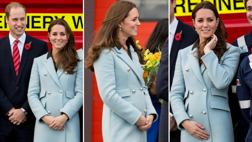 VISTE BABYMAGEN: En liten babymage var å skimte under den lekre Matthew Williamson-kåpen til hertuginne Kate lørdag. Da besøkte hun et oljeraffineri i Wales sammen med prins William, etter å ha slappet av en uke på Balmoral Castle i Skotland. Foto: Stella Pictures