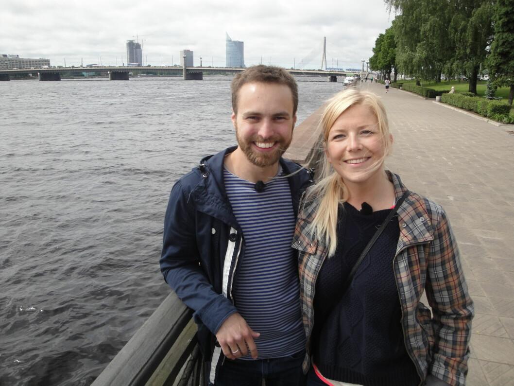 <strong>NYGIFT:</strong> Vebjørn og Annabelle har blitt et populært par på TV med sitt gode humør. Annabelle sier seg enig i at å delta i et slikt program ikke passer for alle og enhver. Foto: TVNorge