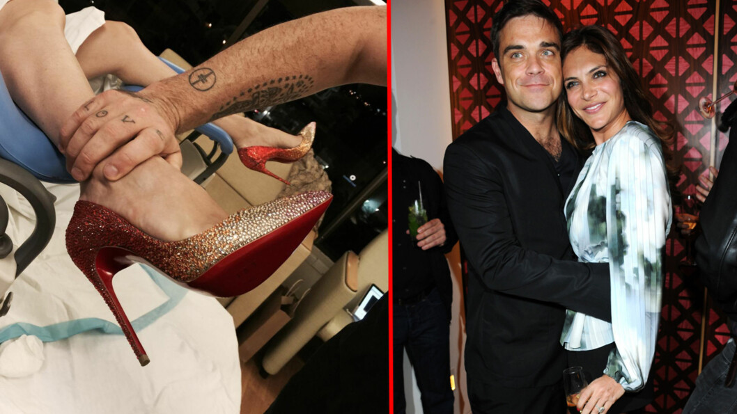 FØDSELEN I GANG?: Robbie Williams la ut bildet til venstre på sin egen Twitter-side mandag, der Ayda Field ser ut til å være klar til fødsel i høye hæler. Foto: Twitter, All Over Press