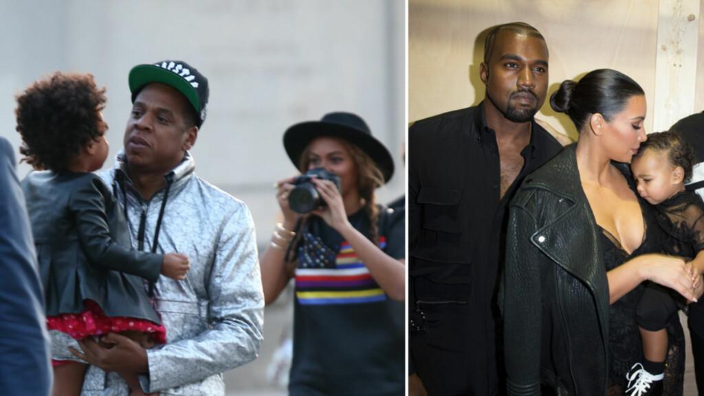 ELSKER PARIS: Jay Z og Beyoncé elsker å ha med datteren Blue Ivy til Paris - som her på Louvre i starten av oktober. Det samme gjør Kanye West og Kim Kardashian (t.h), som her poserer backstage på Givenchy-showet i september sammen med datteren North West. Men forholdet mellom familiene er visstnok ikke av de beste. Foto: Stella Pictures