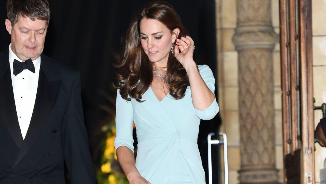 ENDELIG I BEDRE FORM: Kate valgte en kroppsnær kjole fra Jenny Packham og utslått hår på tirsdagens andre offisielle oppdrag. Foto: REX/Tim Rooke/All Over Press