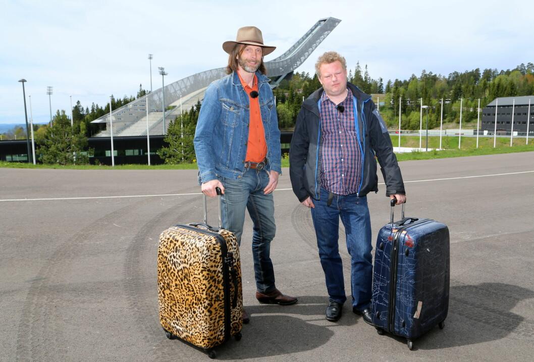 <strong>PÅ TV NÅ:</strong> Ola-Conny Wallgren og Morgan Karlsson. Her med Holmenkollen i bakgrunnen. Foto: TvNorge