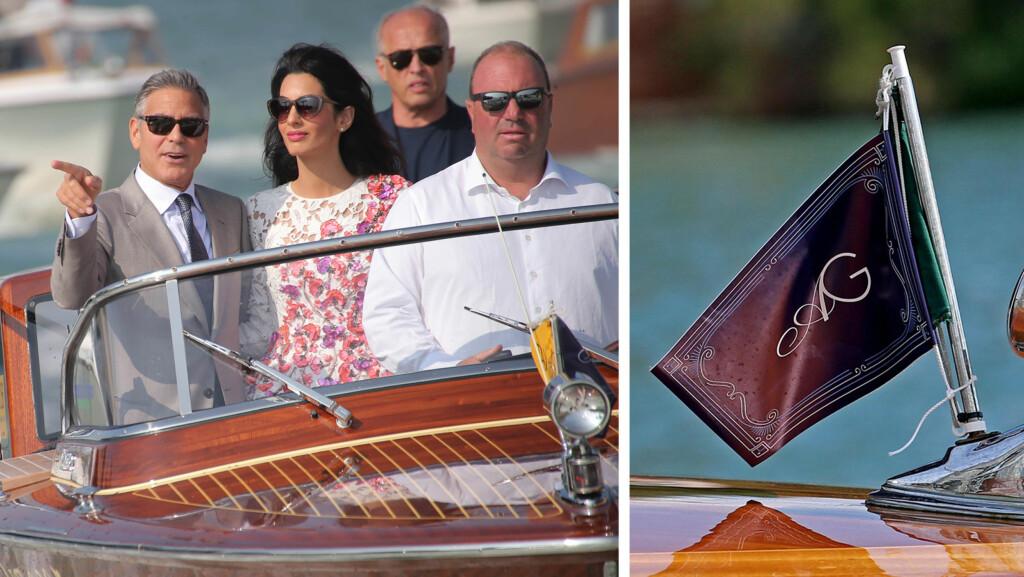 KJÆRLIGHETSFLAGG: George Clooney og Amal Alamuddin hadde fått designet sitt eget monogram i anledning bryllupet i Venezia sist helg. Monogrammet var trykket på et flagg, som pyntet opp taxibåtene da de ble kjørt til bryllupsbrunsjen dagen etter vielsen.  Foto: All Over Press