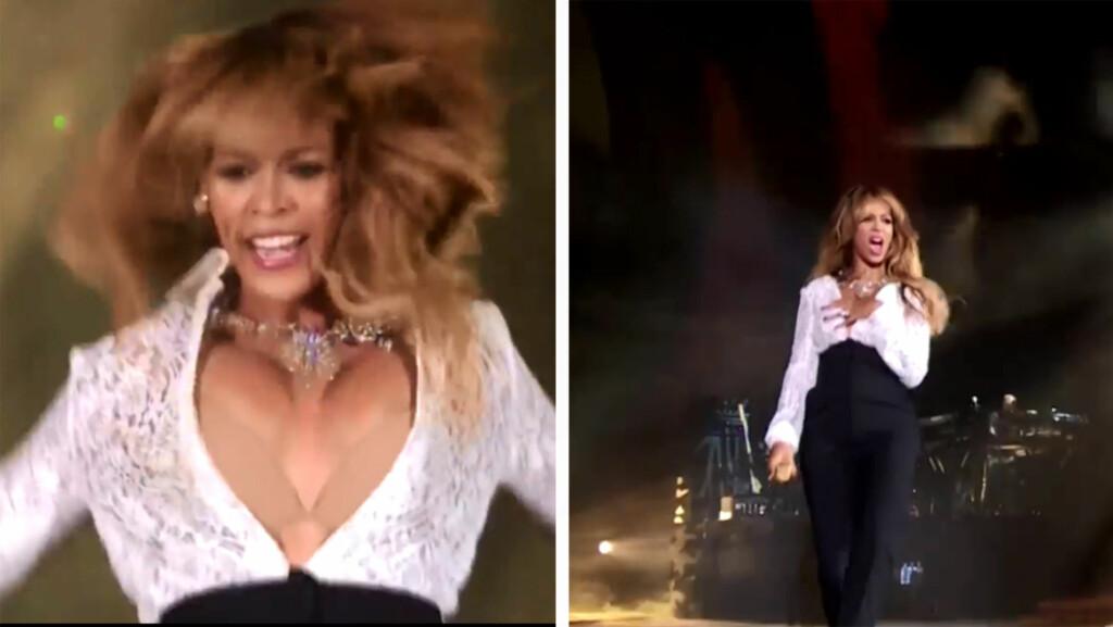 OOPS: Beyoncé Knowles måtte holde en arm foran brystet, etter at toppen hennes gled ned mens hun danset på scenen i New York lørdag. Foto: NBC