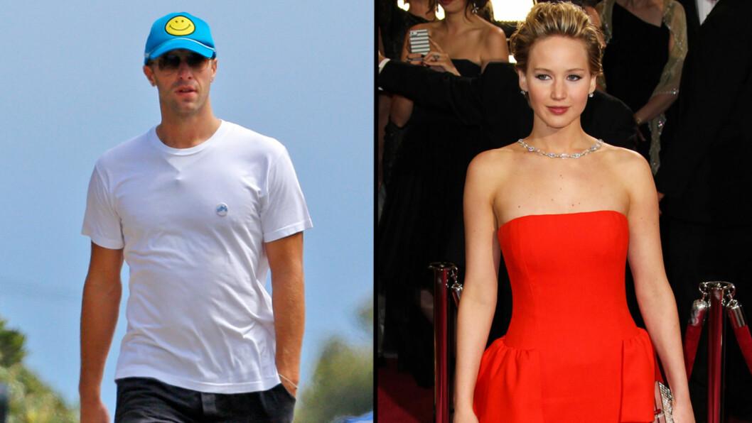 IKKE HEMMELIG LENGER?: Chris Martin og Jennifer Lawrence skal ikke ha prøvd å skjule forholdet under iHeartRadio Music Festival i helgen. Foto: All Over Press