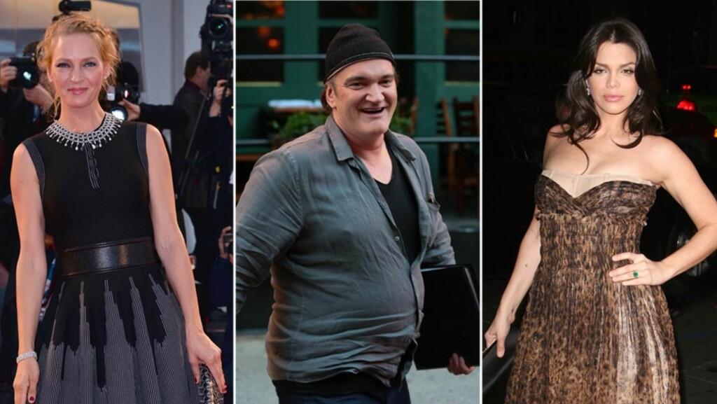 TREKANTDRAMA?: Daily Mail mener at filmstjerne Uma Thurman (t.v) neppe blir glad over at regissør Quentin Tarantino, som hun er blitt koblet til de siste månedene, fredag kveld var på et hett stevnemøte med skuespiller Vanessa Ferlito. Foto: Stella Pictures/ All Over Press/ Stella Pictures