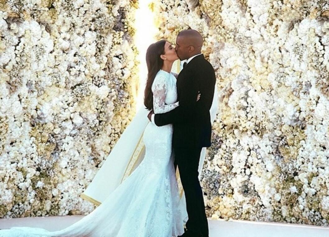 SA JA I ITALIA: Kim Kardashian og Kanye West. Foto: Instagram