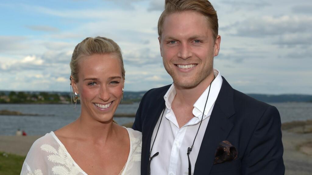 FORELSKET: Katarina Flatland og Harald Dobloug fotografert på ELLE sommerfest på Hukodden restaurant på Bygdøy i sommer. Foto: FameFlynet Norway