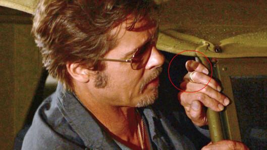 VISTE FREM GIFTERING: Brad Pitt hadde på seg sin nye giftering, da han møtte pressen i forbindelse med sin nye film «Fury». Foto: All Over Press