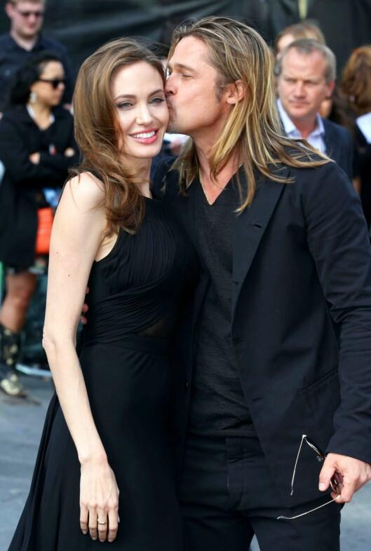 KYSSET ANGELINA: Brad Pitt viste sin følsomme side på premieren til filmen «World War Z» i London i 2013. Foto: REX/All Over Press