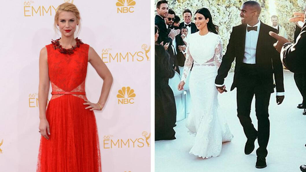 KOM I KIMS KJOLE: Claire Danes valgte samme Givenchy-kjole som Kim Kardashian giftet seg i, da hun ankom mandagens Emmy-fest. Foto: Fame Flynet/Instagram
