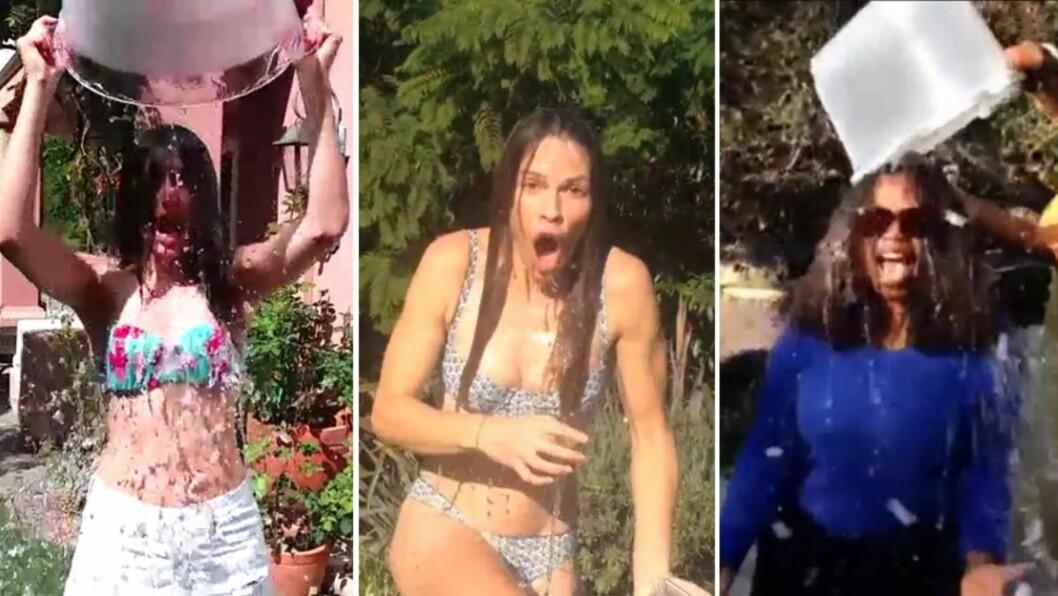 IS I MAGEN: De siste dagene har en lang rekke Hollywood-stjerner latt seg dynke i isvann for å øke oppmerksomheten rundt den uhelbredelige nervesykdommen ALS med «The ALS Ice Bucket Challenge». Særlig underholdene blir det når Emmy Rossum (f.v), Hilary Swank og Oprah Winfrey nominerer andre store stjerner. Foto: Instagram