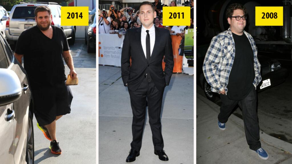 JO-JO: Skuespiller Jonah Hill sliter med å holde vekten. I 2011 var han nesten ugjenkennelig etter å ha gått ned omlag 20 kilo, men nå er kiloene tilbake.