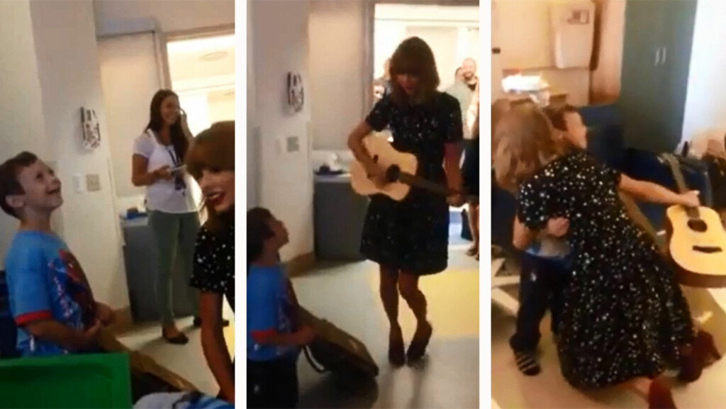 GLEDESSPREDER: Taylor Swift fikk sju år gamle leukemirammete Jordan til å smile fra øre til øre da hun overrasket ham på et sykehus i Boston. Foto: YouTube