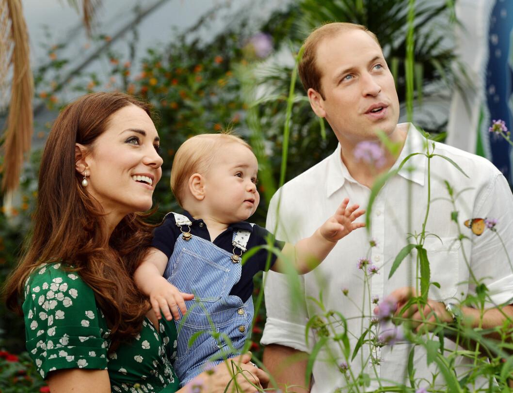 NYSGJERRIG: De flotte familiebildene, tatt av John Stillwell, viser den lille prinsens interesse for omgivelsene på Natural History Museum. Hertuginne Kate og prins William følger også nøye med. Foto: Stella Pictures