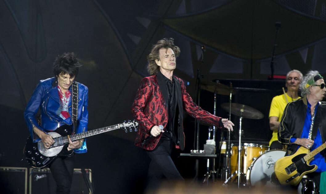 ROLLING STONES-GITARIST: Ronnie Wood på scenen med Mick Jagger og Rolling Stones. Foto: REX/DyD Fotografos/Unimedia Imag/All Over Press