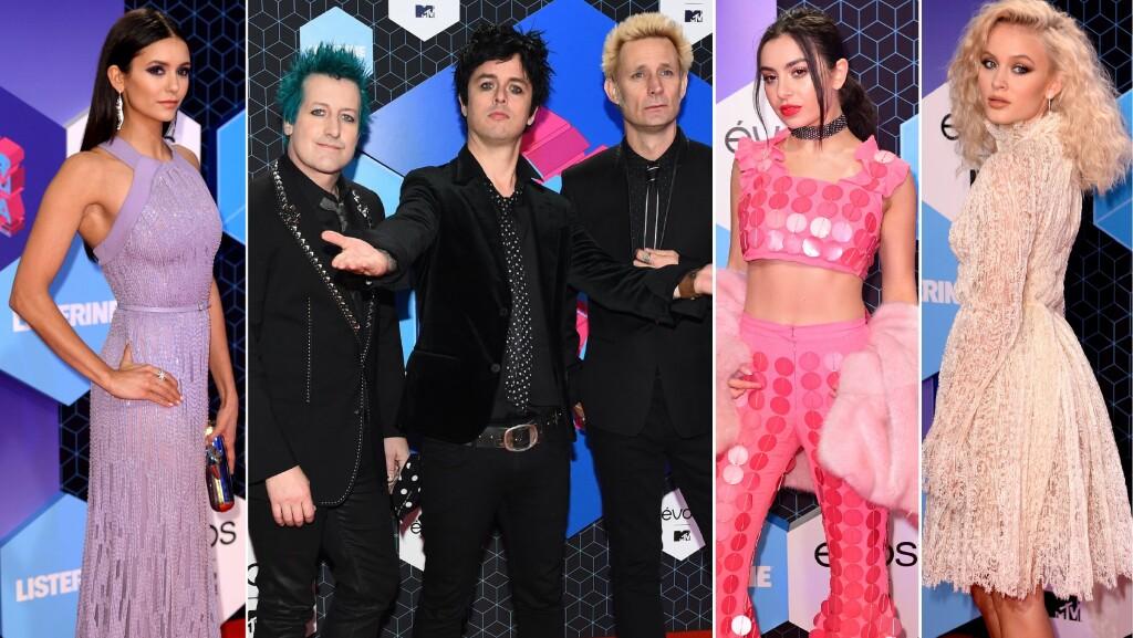 RØD LØPER: F.v: Hollywood-stjerne Nina Dobrev, Greenday, sangeren Charli XCX og det svenske stjerneskuddet Zara Larsson.   Foto: NTB Scanpix