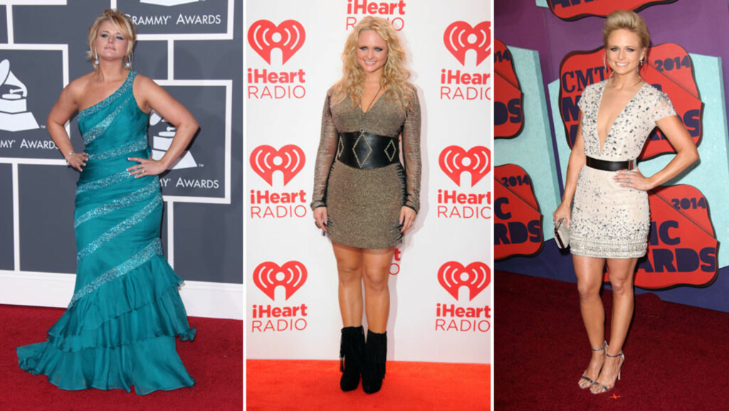 NY STIL: Stilen til Miranda Lambert har gått en lang vei fra Grammy Awards i 2010 (f.v), via iHeart Radio-festivalen i 2012 og til CMT Music Awards i juni 2014.  Foto: Stella Pictures/Rex/All Over Press