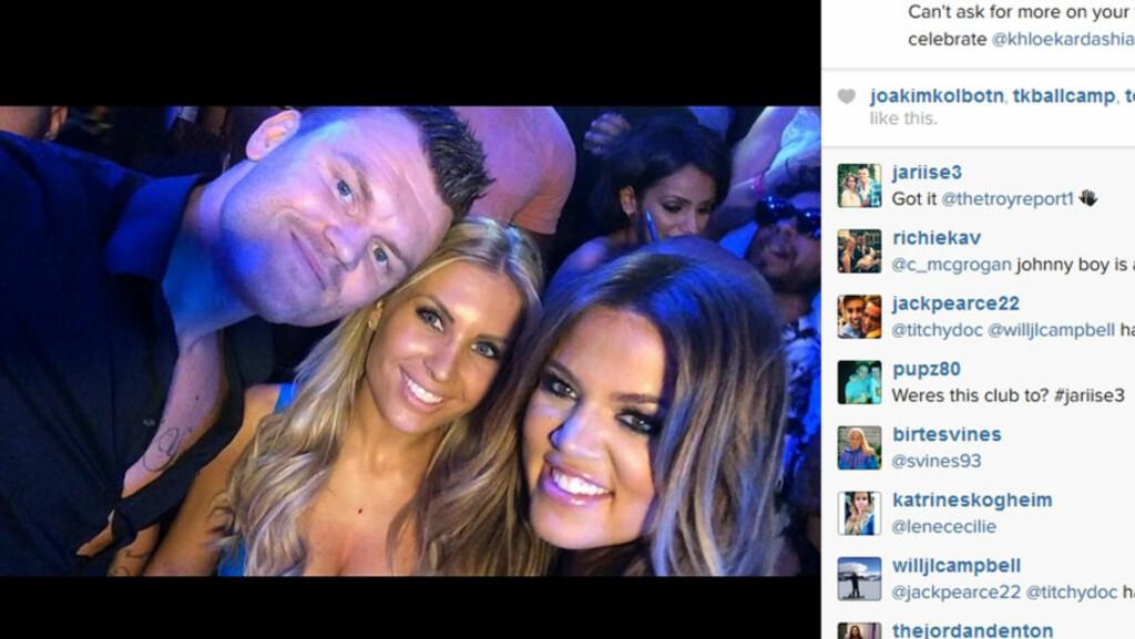 FESTET MED REALITY-FIFFEN: John Arne Riise og kona Louise Angelica ankom Las Vegas på USAs nasjonaldag fredag - og begynte oppholdet med å feire 30-årsdagen til realitystjernen Khloé Kardashian (t.h).  Foto: John Arne Riise/ Instagram