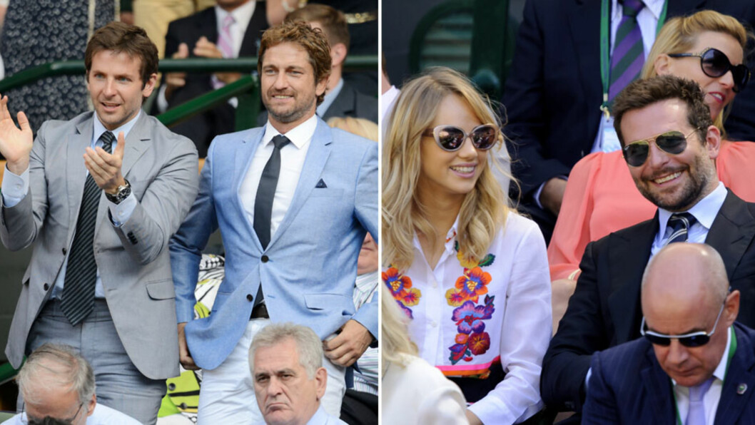 FRA KOMPIS TIL KJÆRESTE: I juli i fjor hadde Bradley Cooper (t.v) det gøy på Wimbledon sammen med Gerard Butler, men i år hadde han bare med seg kjæresten Suki Waterhouse (t.h) på tennisturneringen i London. Foto: REX/ All Over Press