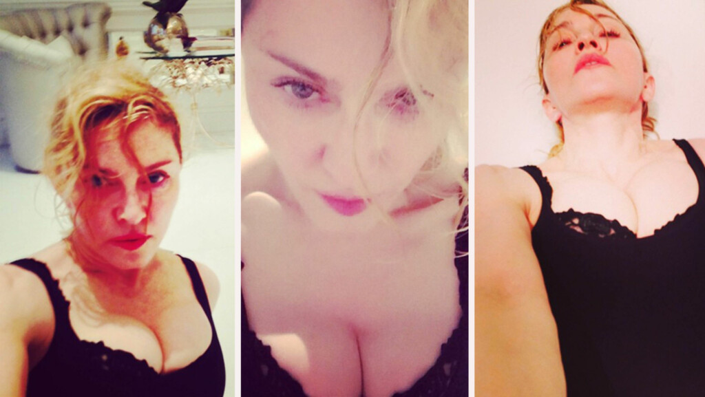 FREKKE BILDER: Det er langt fra første gangen Madonna deler dristige bilder på sosiale medier. Det var ingen tvil om hvilke kroppsdeler popstjernen ville fremheve på disse bildene.  Foto: Fameflynet/Instagram