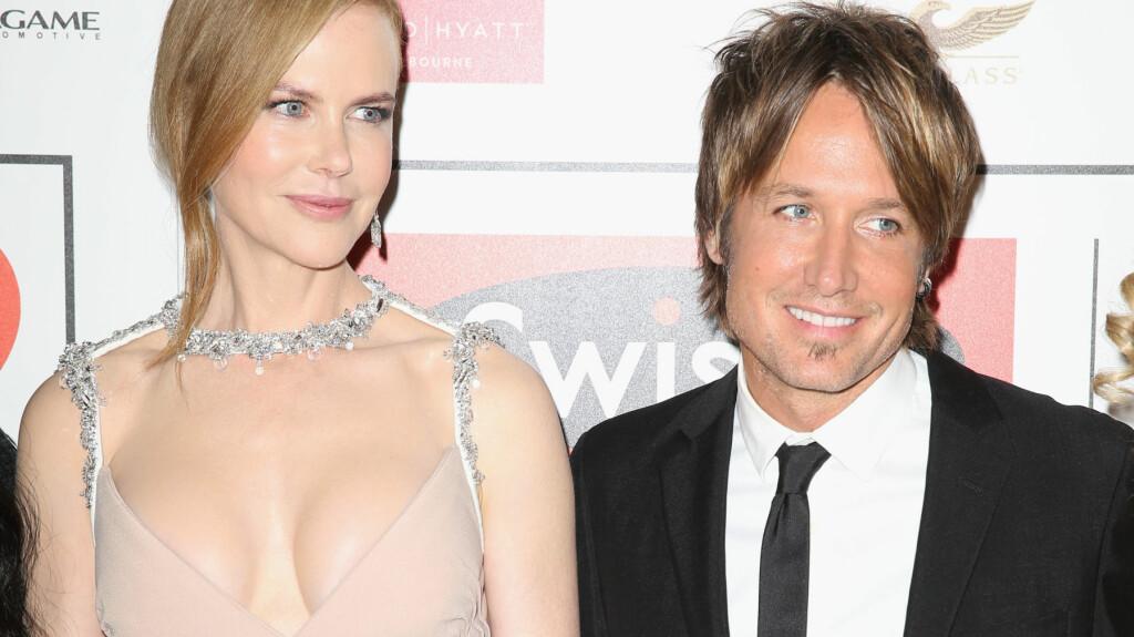 NY FIGUR: Nicole Kidman avslørte nye store fordeler under Swisse Life Ball i Melbourne torsdag kveld. Skuespilleren kom sammen med ektemannen Keith Urban.  Foto: Splash News/ All Over Press