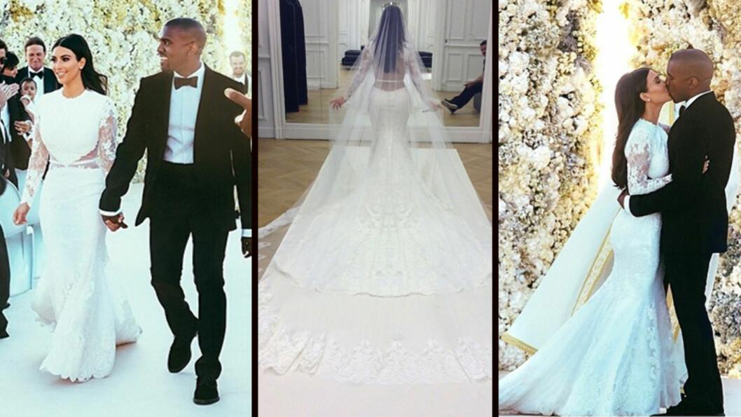 OVERDÅDIG: Da Kim og Kanye ga hverandre sine løfter var det foran en gigantisk blomstervegg på et slott i Firenze. Realitystjernen var iført en Givenchy-kjole til 12 millioner kroner under seremonien.  Foto: Kim Kardashian/Kris Jenner/Instagram