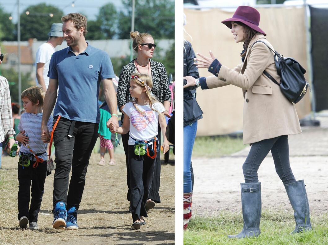 FESTIVALGLEDE: Chris Martin og Alexa Chung ble visstnok kjent under fjorårets Glastonbury festival i England. Han tok med seg barna Apple (9) og Moses (7) på den populære musikkfestivalen. Foto: Stella Pictures / All Over Press