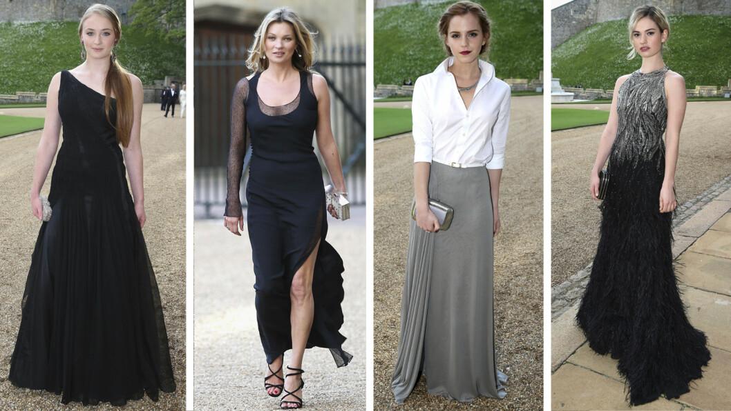 STJERNENE PÅ SLOTTET: Game of Thrones-stjernen Sophie Turner, modellen Kate Moss, Harry Potter-stjernen Emma Watson og Downton Abbey-stjernen Lily James var blant stjernene som hadde pyntet seg til besøk på Windsor Castle.  Foto: All Over Press