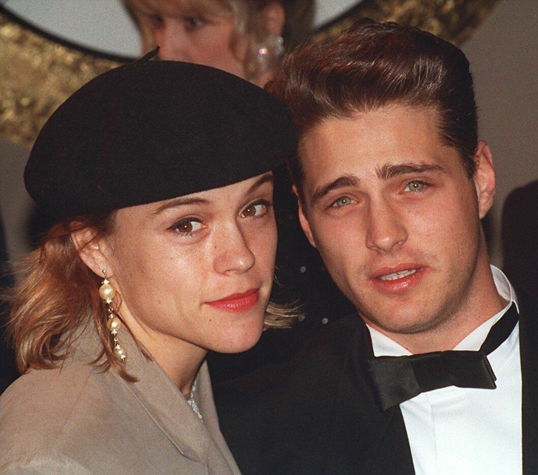 DATET KOLLEGAEN: Jason Priestley datet «Beverly Hills 90210»-kollegaen Christine Elise på 90-tallet. Han beskriver det som sitt første modne forhold. Foto: REX/KIP RANO/All Over Press