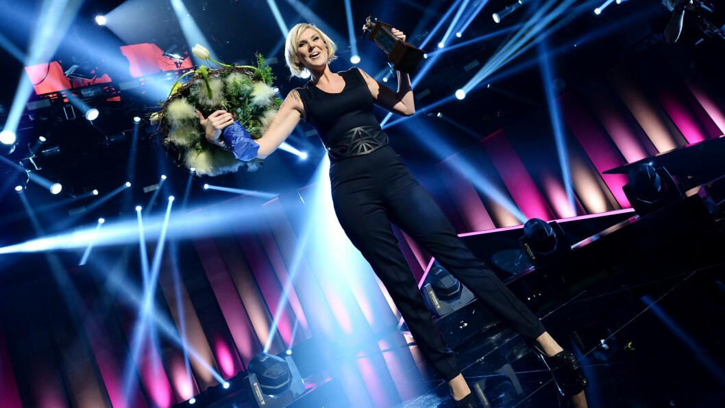 SVENSKEHÅPET: Sanna Nielsen representerer «Söta bror» under Eurovision-finalen i København 10.mai, men får lunkne tilbakemeldinger fra den norske MGP-eksperten Ingeborg Heldal. Foto: All Over Press