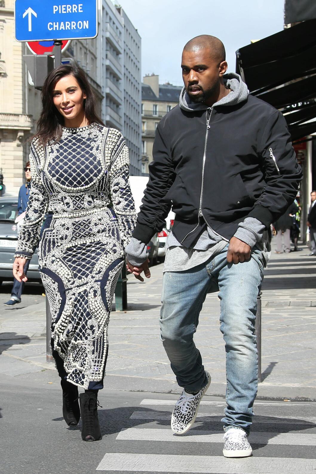 PLANLEGGER BRYLLUP: 24. mai gifter Kim og Kanye seg i Paris. Vogue beskriver dem som «verdens mest omtalte par». Foto: Stella Pictures