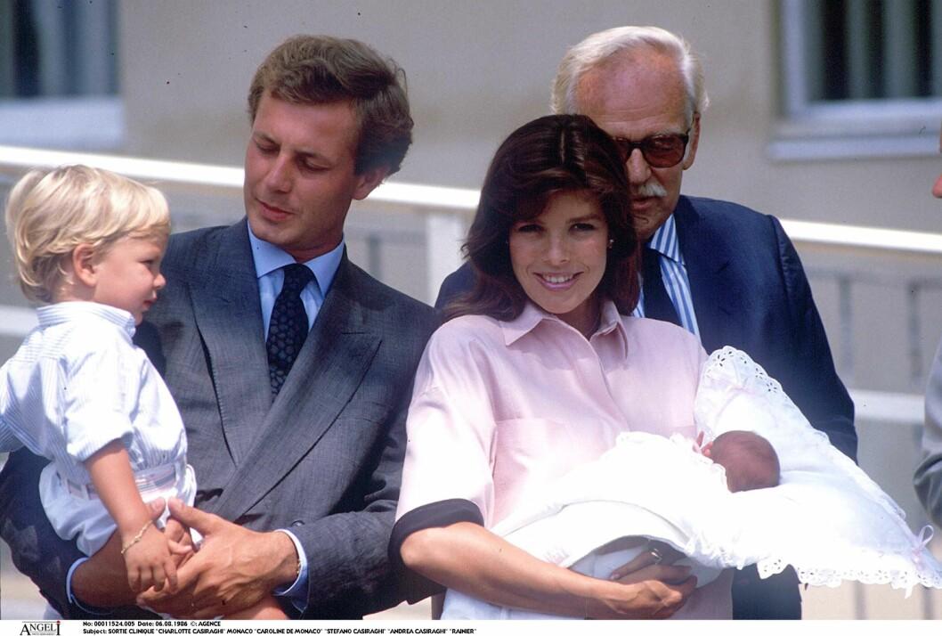 LYKKELIGE TIDER: Caroline fikk barna Charlotte, Andrea og Pierre med Stefano Casiraghi. Foto: All Over Press