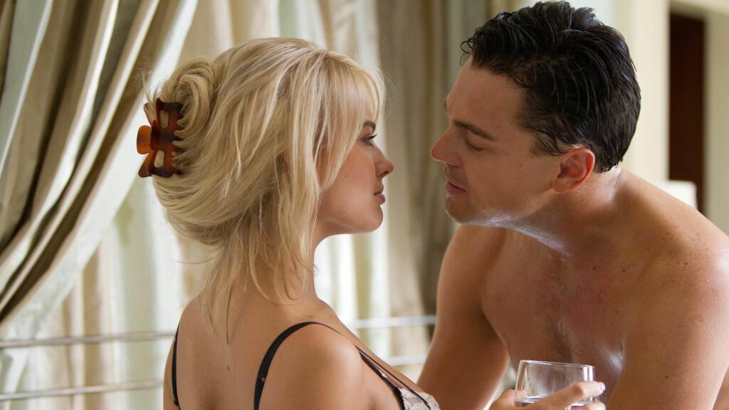 """AVKLEDD: Margot Robbie deler flere hete øyeblikk med 16 år eldre Leonardo DiCaprio i kinosuksessen """"The Wolf of Wall Street"""". Foto: Supplied by LMK/All Over Press"""
