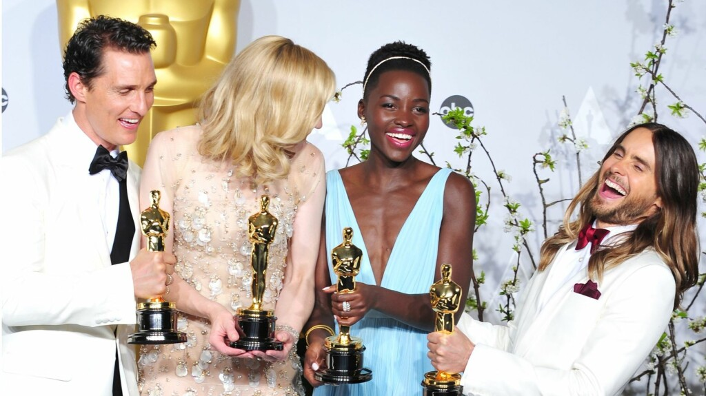 OSCAR-VINNERNE: Matthew McConaughey, Cate Blanchett, Lupita Nyong'o og Jared Leto. Foto: All Over Press
